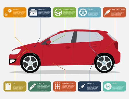 32622386 - infographic template with car and car parts icons, service and repair concept